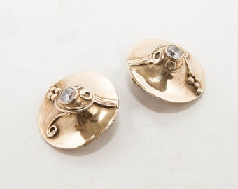 Vintage sterling silver-gold plated clip earrings with zirgon 7166