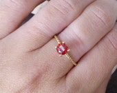 SALE! Round garnet ring, gold ring, simple ring, january ring, birthstone ring, rope ring, wrap band,gift idea