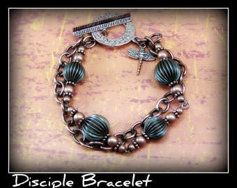 Antique Copper Cross Bracelet - The Disciple