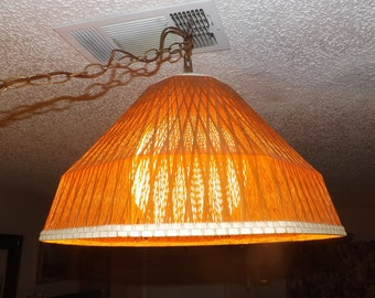 Vintage 1970's Mid Century Modern Hanging Lamp / Light Fixture Very Nice