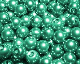 100pc 6mm Round Glass Pearl Beads - Teal Green/ Blue (CR6034)