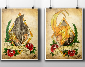Sons of Odin - Thor & Loki Tattoo Parlour Poster Prints