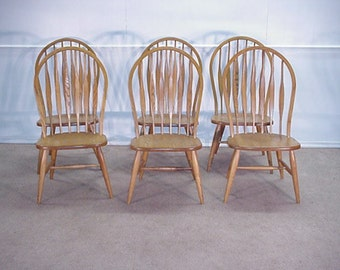 Bent Brothers Solid Oak Set Of 6 Bent Back Windsor Chairs