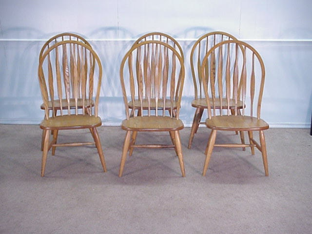 Solid Oak Windsor Chairs ~ Bent brothers solid oak set of back windsor chairs