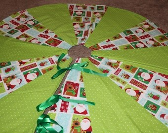 Santa, Reindeer, Stockings, Snowflakes, Green tree skirt.