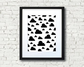 Clouds Black and White Print Wall Art Home Decor for Baby Nursery Rooms