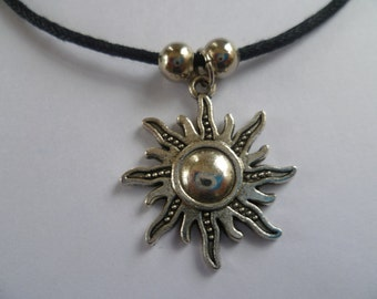 Sun cord necklace, sun necklace, silver sun necklace,sun jewellery, sun pendant, celestial, wiccan jewelry,black necklace, gift,pagan