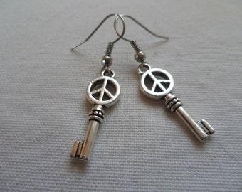 Peace earrings,key earrings,peace sign earrings,hippie,retro,CND,silver peace earrings, simple jewelry,peace dangle earrings,