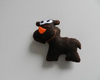 Rhino toy, handmade felt toy.
