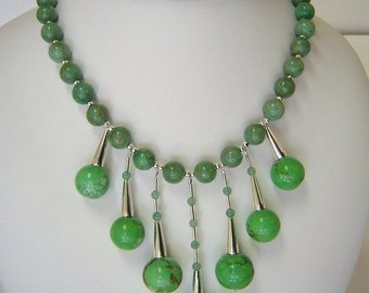 Green Turquoise & Jade Drop Necklace