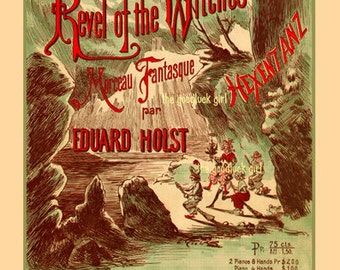Revel of the Witches restored Vintage sheet music cover digitally enhanced 8x10 reproduction Witch art print picture