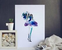 Wall Decor Poster - Ballerina Art Print - Dancer Wall Poster - Watercolor Home Decoration - Ballet