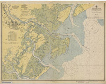 Tybee Roads - Savannah Historical Map 1944