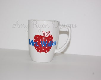 Teacher Appreciation Apple Coffee Mug, Teacher Coffee Cup, Teacher Gift, Personalized Teacher Gift, Custom Teacher Gift, Preschool Teacher
