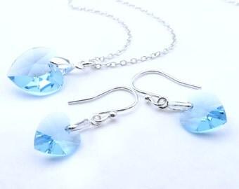 Aquamarine Birthstone Jewelry Set, Sterling Silver Aquamarine Necklace, Aquamarine Earrings, Aquamarine Birthstone Jewelry