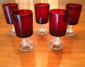 Set of 5 vintage cranberry wine glasses
