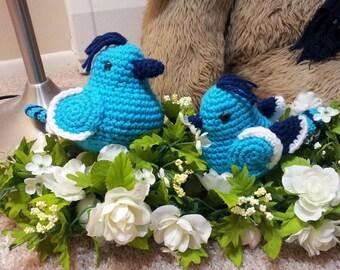 Amigurumi crochet stuffed blue birds