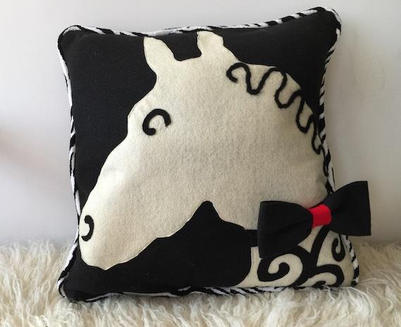 Decorative Pillows Homemade : Decorative throw felt pillow homemade horse silhouette with