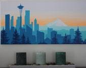 Custom city skyline silhouette paintings: Seattle