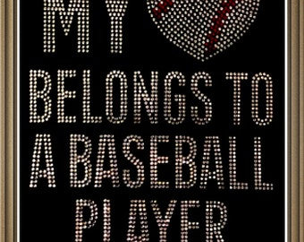 "Rhinestone  ""My Heart Belongs to a Baseball Player"" T-Shirt"