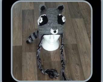 Crochet Racoon Beanie for the hunter in the family! Hand Made. Children's- Adults