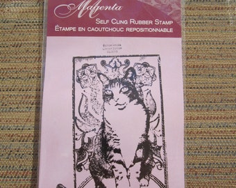 LE magenta cat cling stamp