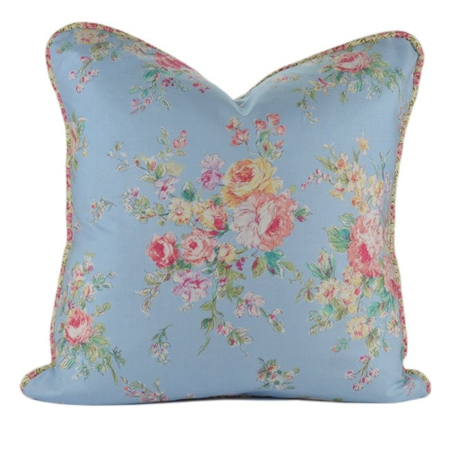 Shabby Chic Blue Pillows : Shabby Chic Decorative Pillow Cover with Piping : Shabby Chic