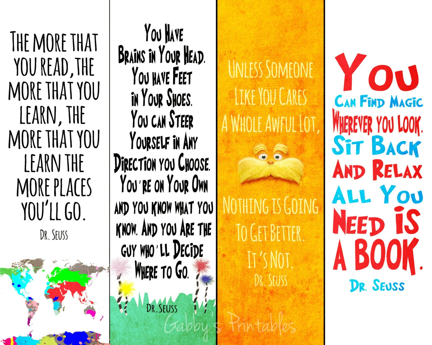 Printable Bookmarks Dr.Seuss Quotes Instant by EastAukletDigital