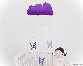 SALE 15% off!! Butterfly Mobile - cloud mobile - felt mobile - felt butterfly mobile - handmade - nursery decor  - child decor - READY NOW