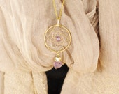 Gold Dream Catcher Necklace, Dreamcatcher necklace, amethyst necklace, boho chic necklace, bohemian necklace