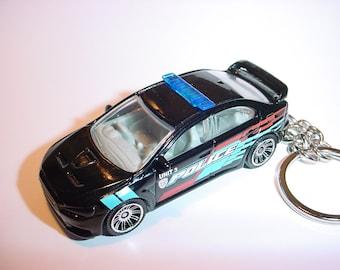 3D 2010 Mitsubishi Lancer X custom keychain by Brian Thornton keyring key chain finished in black color trim diecast metal body police evo