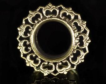 Brass lotus ear tunne 10mm-00g. ear gauges 00g. lotus tunnel. lotus plug. brass tunnel. 10mm tunnel. tribal tunnel. tribal jewelry. p2
