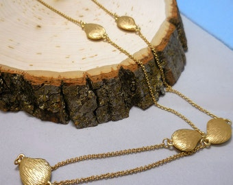 Lariat Gold Tear Drop Necklace