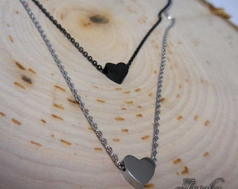 Black and Silver Double Layer Heart Necklace