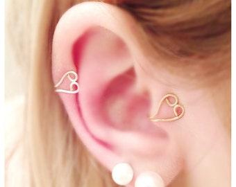 Wire Heart Ear Cuff, Tragus Cuff, Heart Ear Cuff, Heart Cuff
