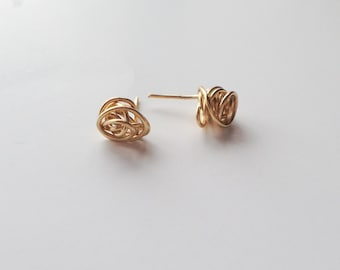 Tiny Gold Knot Stud Earrings, Minimalist Earrings, Simple Earrings, 14k Gold Filled Studs, Sterling Silver Earrings, Love Knot Earrings