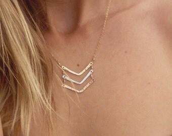 Triple Chevron Necklace, Mixed Metals Chevron Necklace, Rose gold Chevron, Gold Filled Chevron, Silver Chevron, Arrow Necklace