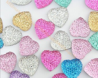 30pcs/lot Colorful Resin Bling Heart Cabochons Gems 15mm Mixed Colors Baby Girl Decor, DIY Accessary SZ0068