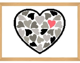 heart cross stitch pattern, black and white, cross stitch pattern, love cross stitch, valentine pattern, romantic pattern, modern pattern