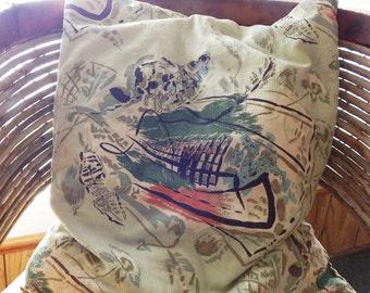 Vintage Barkcloth Pillow