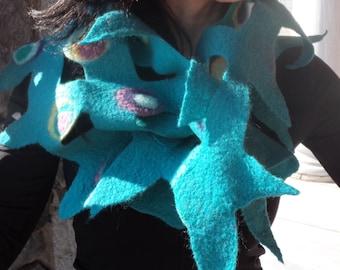 Handmade felted scarf. Art to wear Turquiose . Hundertwasser inspired. Merino wool. Fun design. OOAK