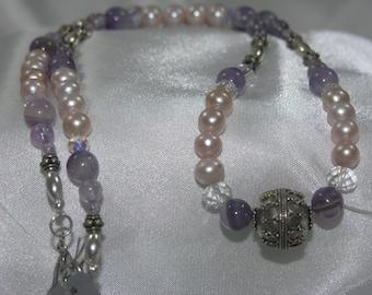 Amethyst, FW Pearl, Bali Silver, Swarovski Crystal Necklace