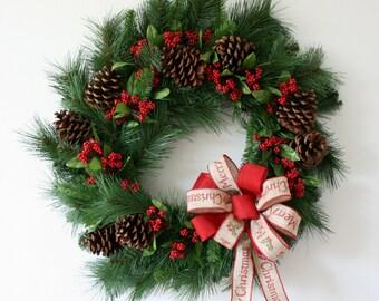 Christmas Wreath , Holiday Wreath , Large Christmas Wreath