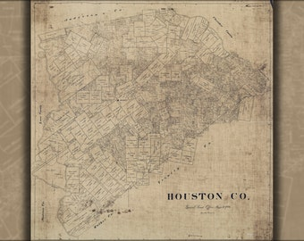 24x36 Poster; Map Of Houston Co Texas 1890