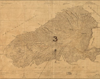 24x36 Poster; Map Of Kahoolawe, Hawaii  Topography 1926