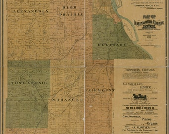 24x36 Poster; Map Of Leavenworth County, Kansas 1894