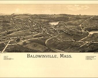 24x36 Poster; Birdseye View Map Of Baldwinville, Mass. 1886