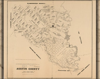24x36 Poster; Map Of Austin County Texas 1880