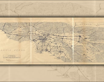24x36 Poster; Map Of Los Angeles And The San Gabriel Mountains 1915