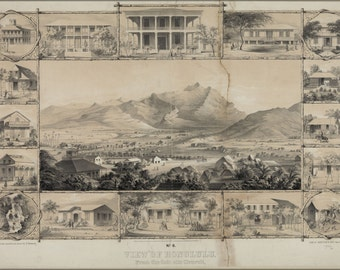 24x36 Poster; No. 6. View Of Honolulu. From The Catholic Church. (C. 1854) #031215